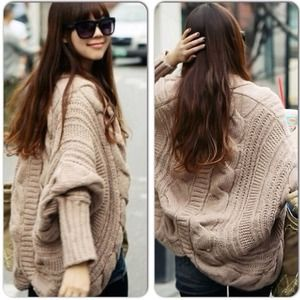 Sexy Khaki Beige Tan Oversized Batwing Sweater