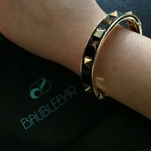 Gold and Black Enamel Pyramid Studded Bangle