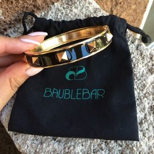 BaubleBar Jewelry - Gold and Black Enamel Pyramid Studded Bangle