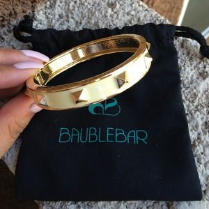 BaubleBar Jewelry - Gold and Cream Pyramid Studded Bangle Bracelet