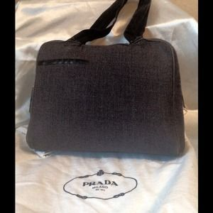 Prada Gray Wool/Black Leather tote