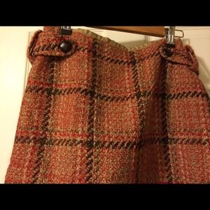 Dresses & Skirts - Plaid skirt with cream orange and brown colors