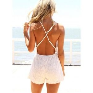 Ivory Open Back Cross Strap Lace Romper