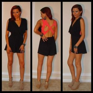 Black Romper with Pink Butterfly Back
