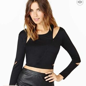 Black zippered crop top