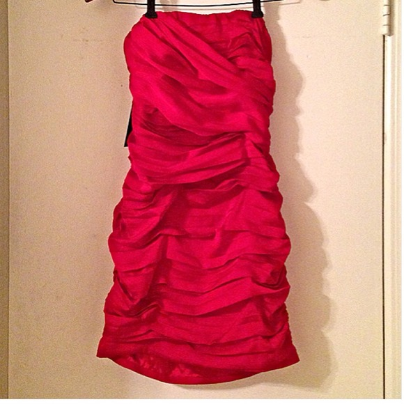76% off Express Dresses & Skirts - Express Red Ruched Strapless ...