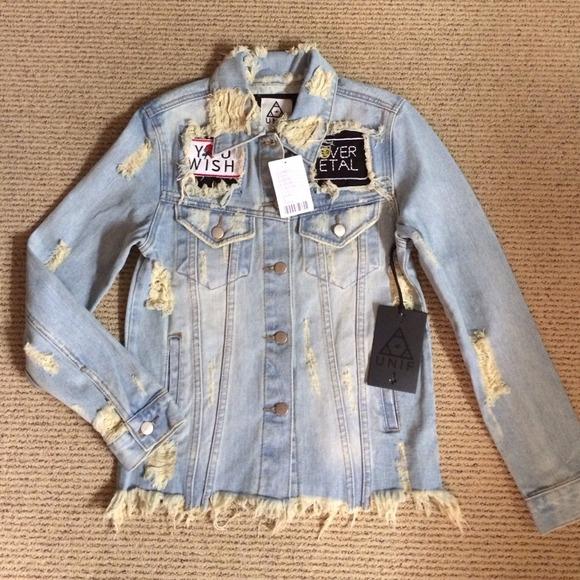 e115a17e2c15e UNIF Distressed Denim Patch Blue Jean Jacket