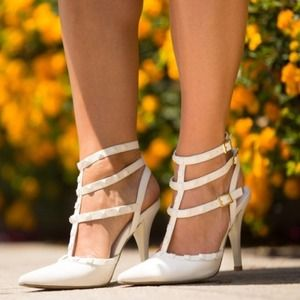 New White Studded Strappy Pointed Toe Heels