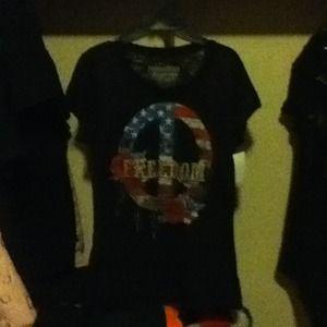 """Rocker Girl Brand """"Freedom"""" Black T-Shirt"""