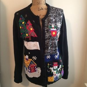 Sweaters - Vintage UGLY Christmas Sweater Cardigan - Med
