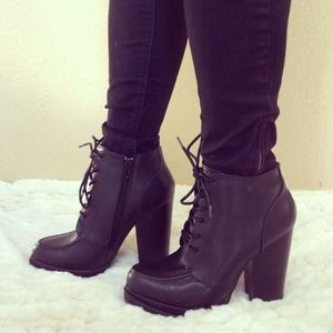 Shoes - New Black Lace Up Chunky Heel Booties 1