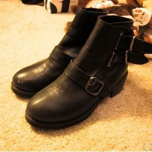 Topshop black leather strap boots