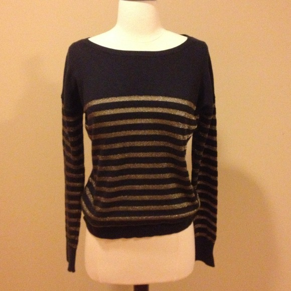 74% off GAP Sweaters - Gap Navy & Gold Striped Sweater from ...