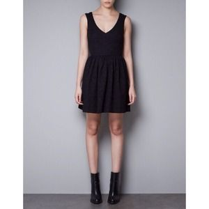NEW Zara Black Jacquard Dress