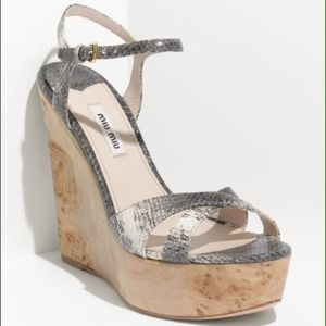 Miu Miu Gray Wood Wedge Sandal  37.5/7.5 NWT box