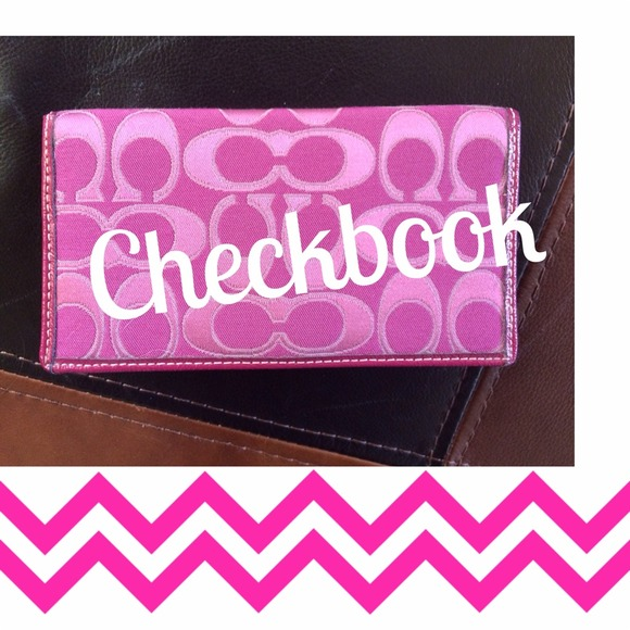Coach Accessories Pink Signature Checkbook Cover Like