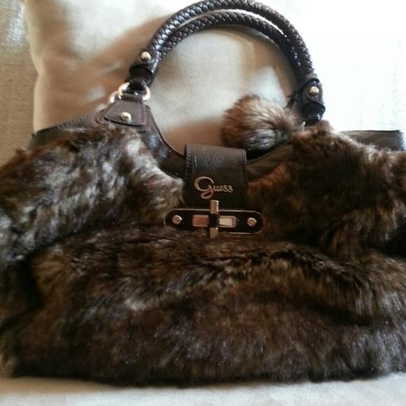 0ce91af656 Guess Handbags - Guess faux fur handbag