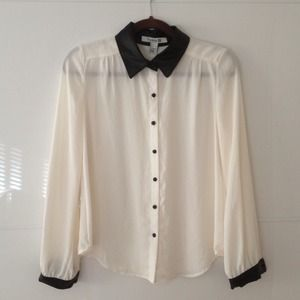 NWOT B&W Button Up