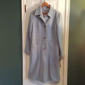 Light blue full length coat WOOL Size 14