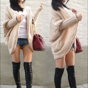 Accessories - Beige oversized loose knitted sweater