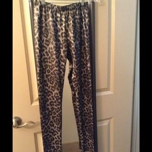 Faux Leather Leopard Leggings