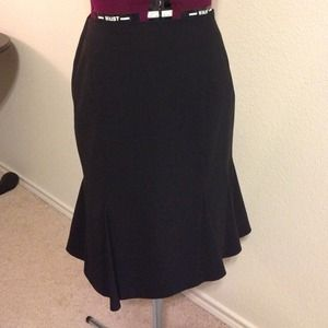 Stretch Wool Professional Black Skirt w Paneling