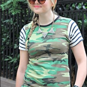 Edith A. Miller Tops - Edith A. Miller Camo + Navy Stripe Tee Medium