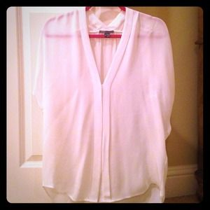 Vince White Short Sleeve Blouse
