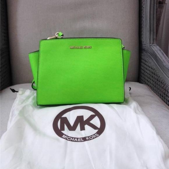 f1127780ec98bf Michael Kors Bags | Auth Mk Neon Green Mini Saffiano Messenger Bag ...