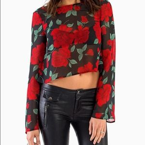 Red rose flare long sleeve crop top