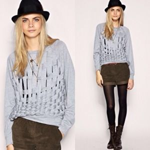 Minkpink grey cutout sweater