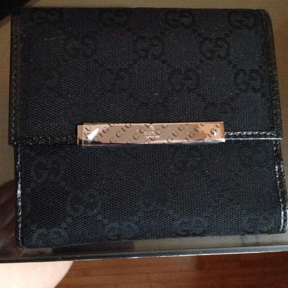 97f0d0c95d1 Black Gucci French flap wallet Gussisima w box.