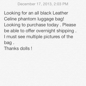 CELINE Phantom Black luggage bag or CHANEL BAG
