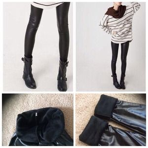 Pants - ✂️Reduced✂️fleece lined leather look leggings