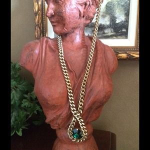 Elizabeth Cole Long Gold Necklace w/ Huge Stone!