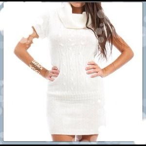 Ivory Crowl Neck Sweater Dress