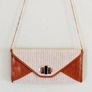 Woven Envelope Clutch Crossbody Chain Purse Bag