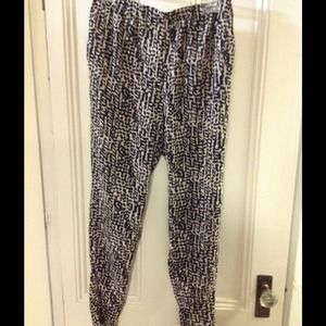 Leopard print loose fitting silk pants