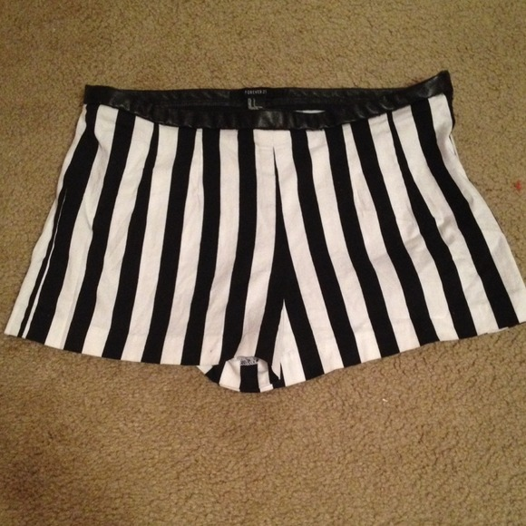 67% off Forever 21 Pants - High waisted black and white striped ...