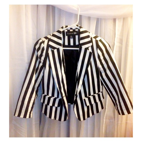 Forever 21 - Black and White Striped blazer from Kayy's closet on ...