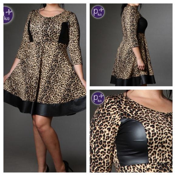 Auditions Dresses Plus Size Leopard Faux Leather Skater Dress