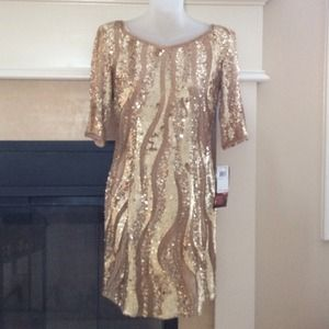 Adrianna Papell gold sequin New Years Eve dress