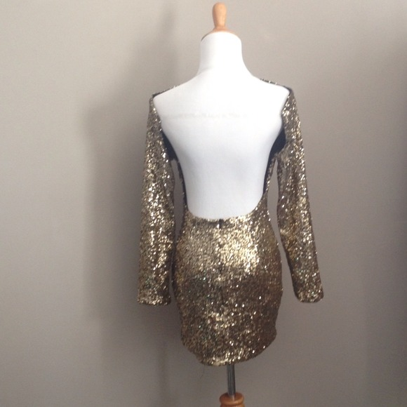 Gold sequin backless mini dress XS from Jacqueline&-39-s closet on ...