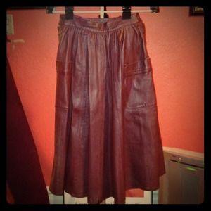 Vintage Italian Leather Skirt