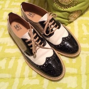 Cream & Black Tuxedo Shoes, 8.5