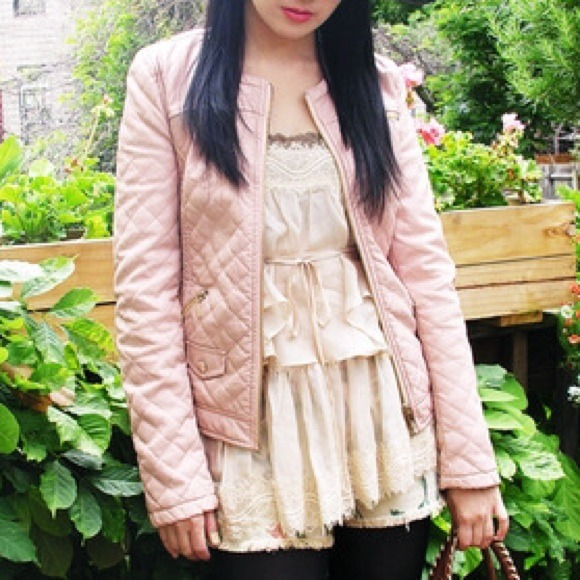 Zara Jackets & Blazers - BRAND NEW Quilted faux leather jacket in pale pink