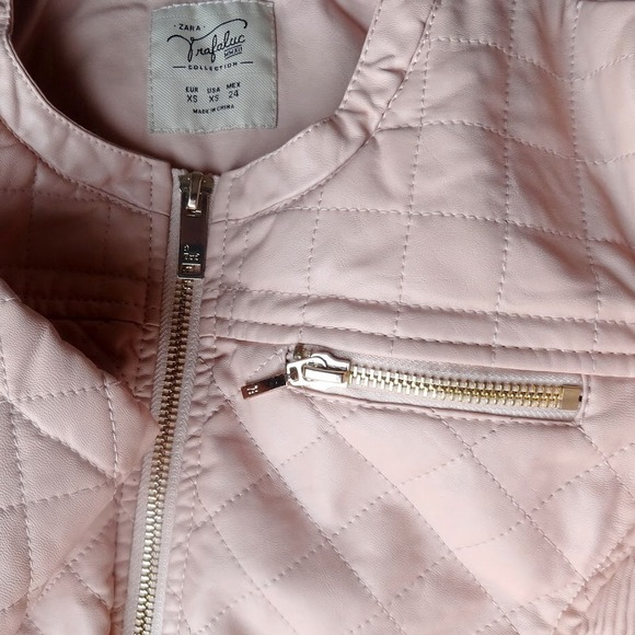 Zara Jackets & Blazers - BRAND NEW Quilted faux leather jacket in pale pink 2