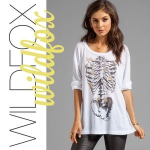 NWT WILDFOX COUTURE Bones Long Sleeve Top Sz SMALL