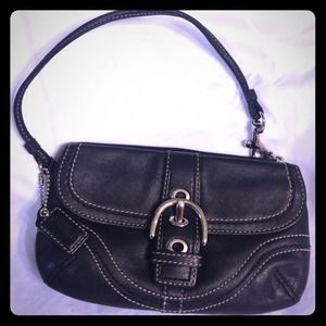 Coach black small leather clutch