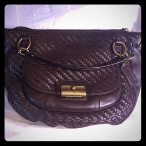 Coach Kristin woven leather round satchel in brown